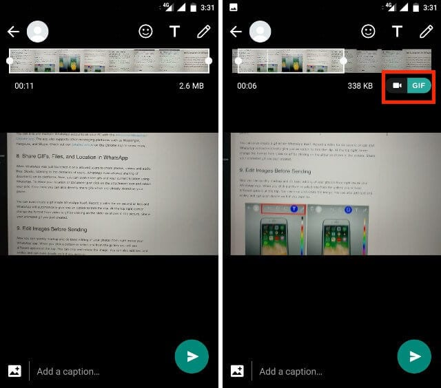 Create GIF from Video File on whatsapp