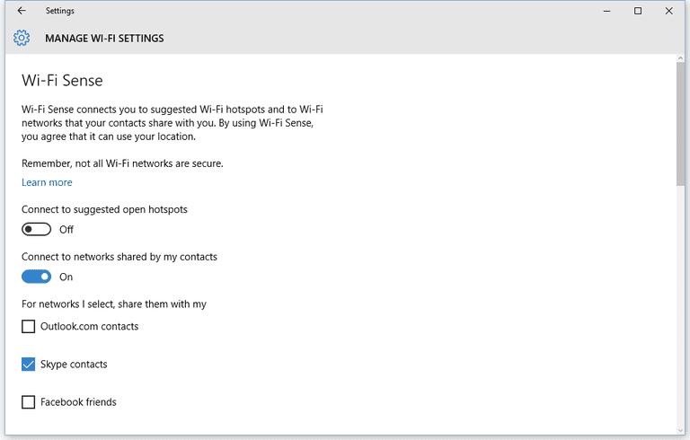Disable WiFi Sense on Windows 10