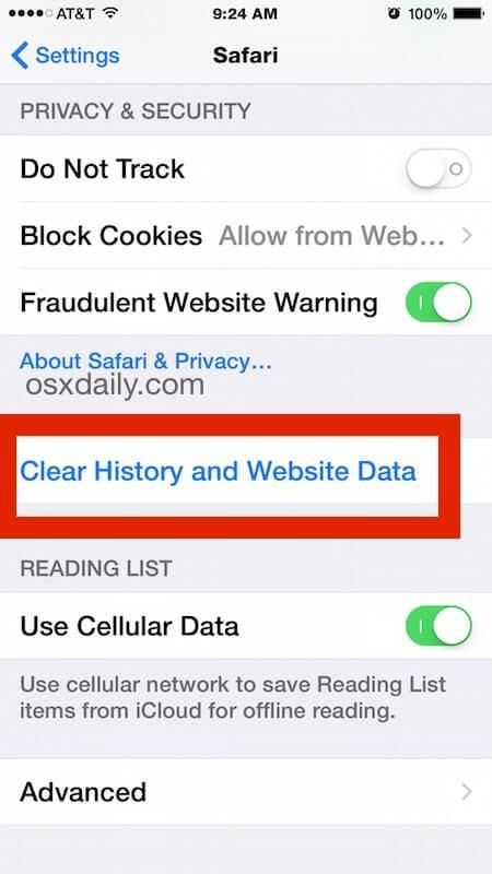 clear-website-history-data-safari-ios