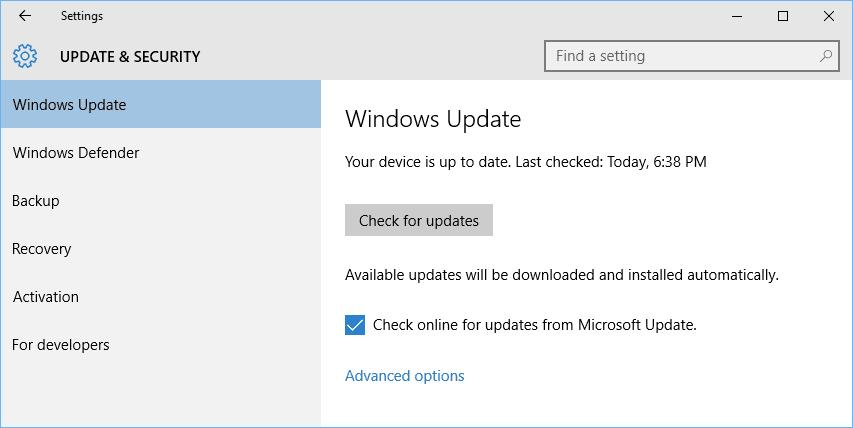 update software windows 10