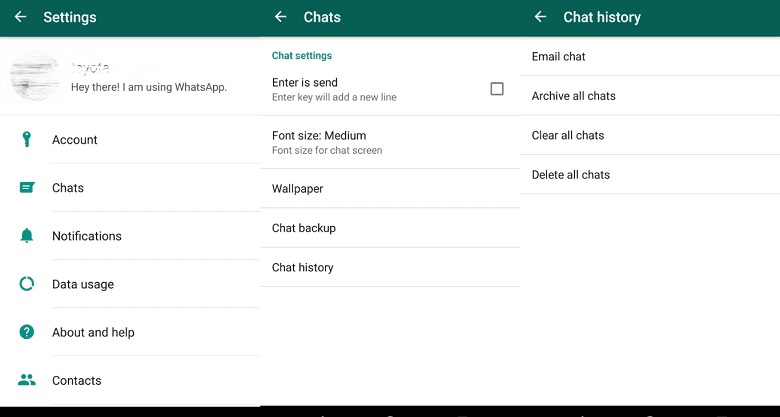 Backup Conversations to Email on whatsapp