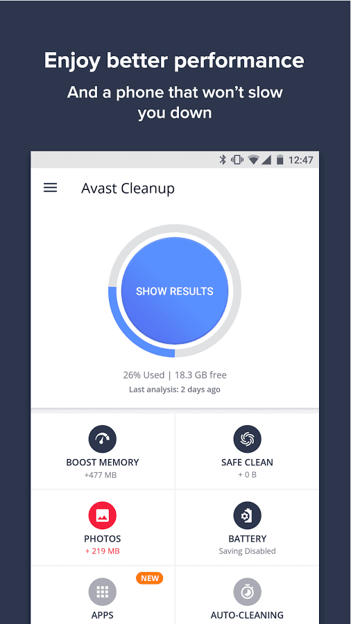 avast cleanup & boost android
