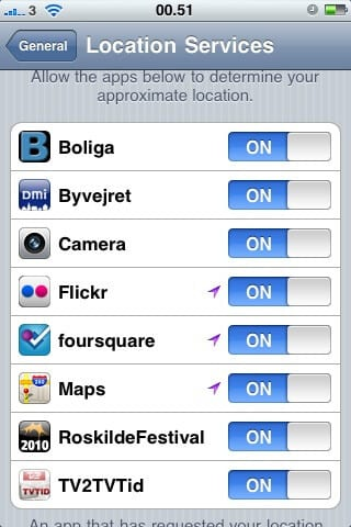 location services on iphone