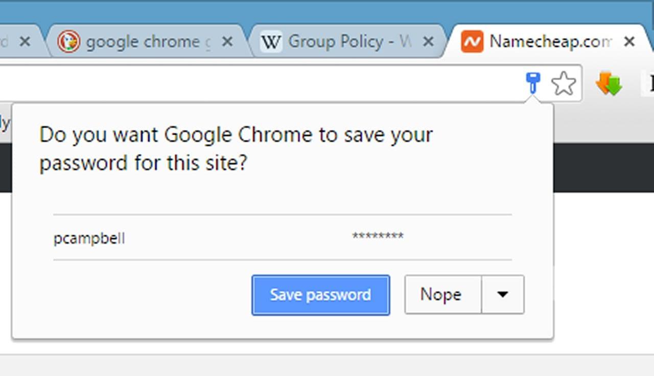 Never save passwords at Public places