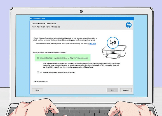 Setting up the hp printer on the wireless network manually