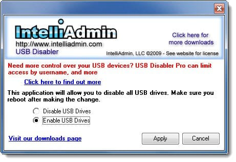 enable usb drive