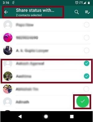 show whatsapp status android