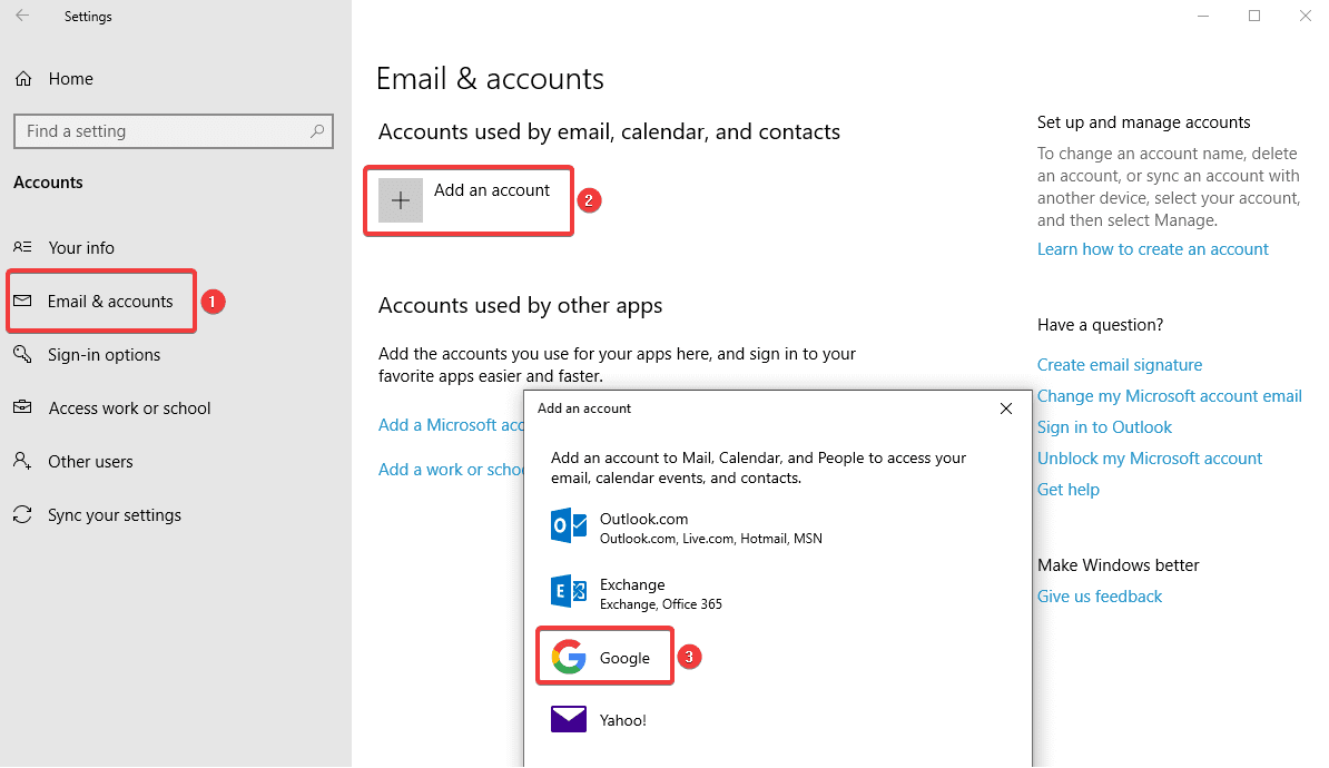 Windows contact sync
