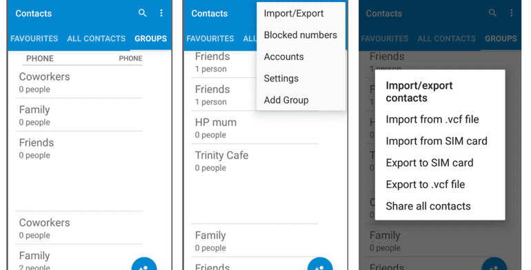 import export contacts android