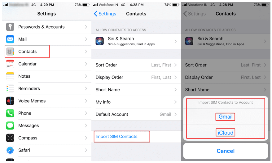 import export contacts on iPhone