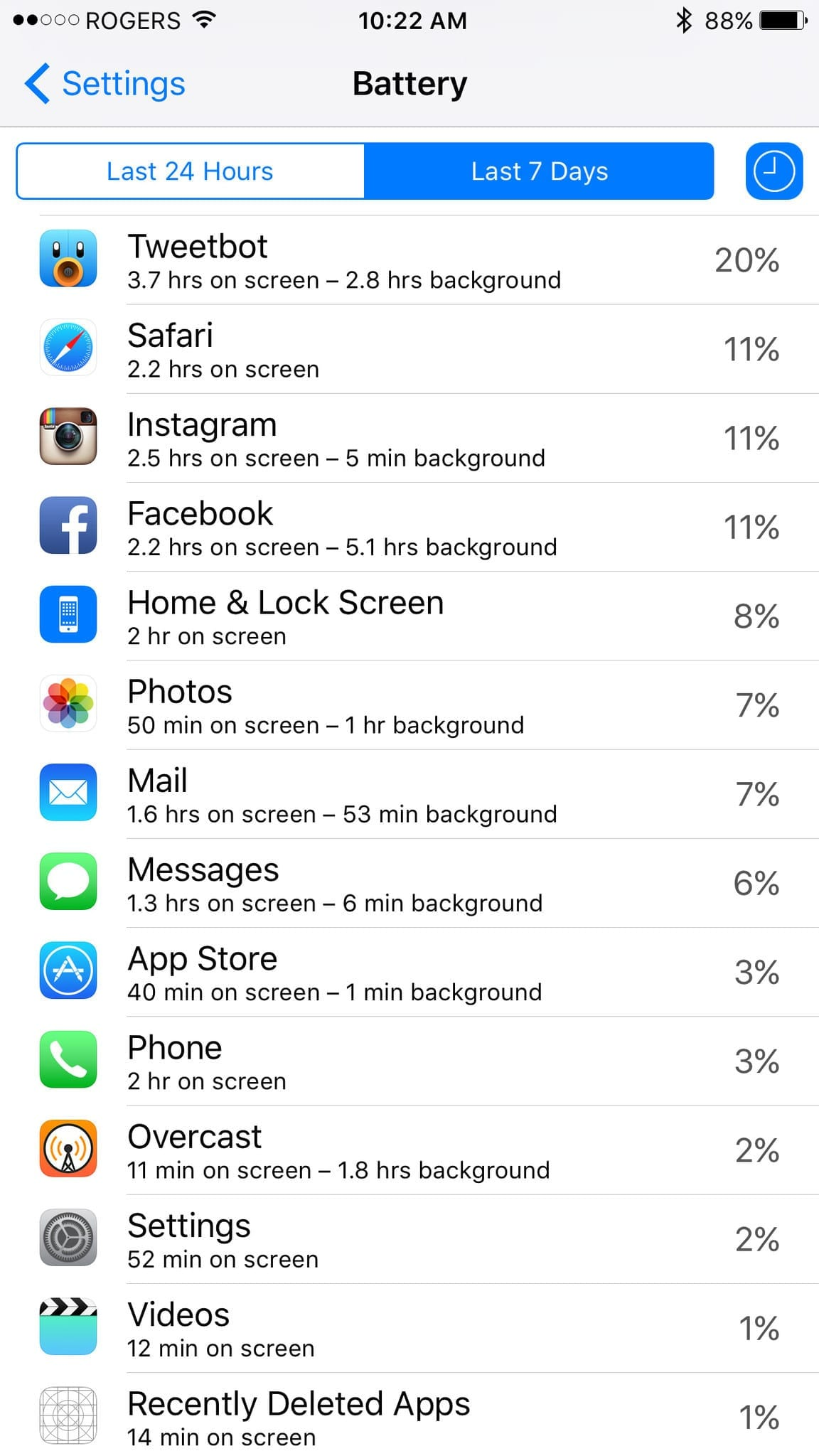 ios battery usage screens