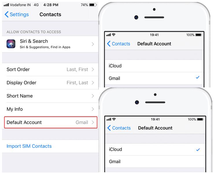 iphone contacts default account