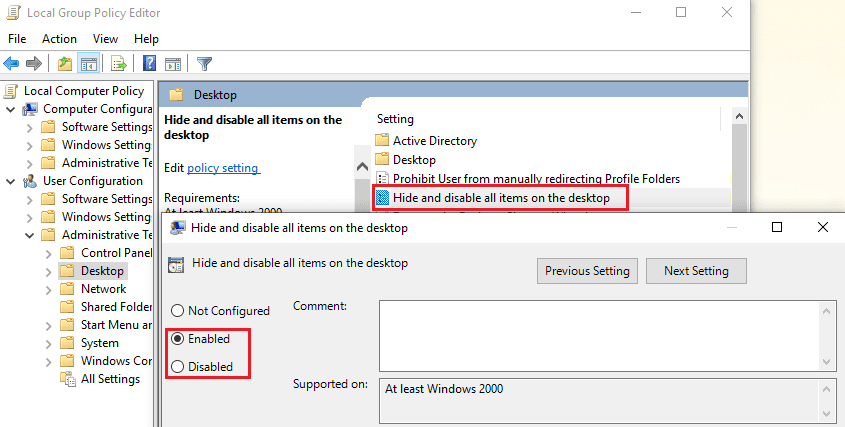 Group policy edit to show hide desktop items