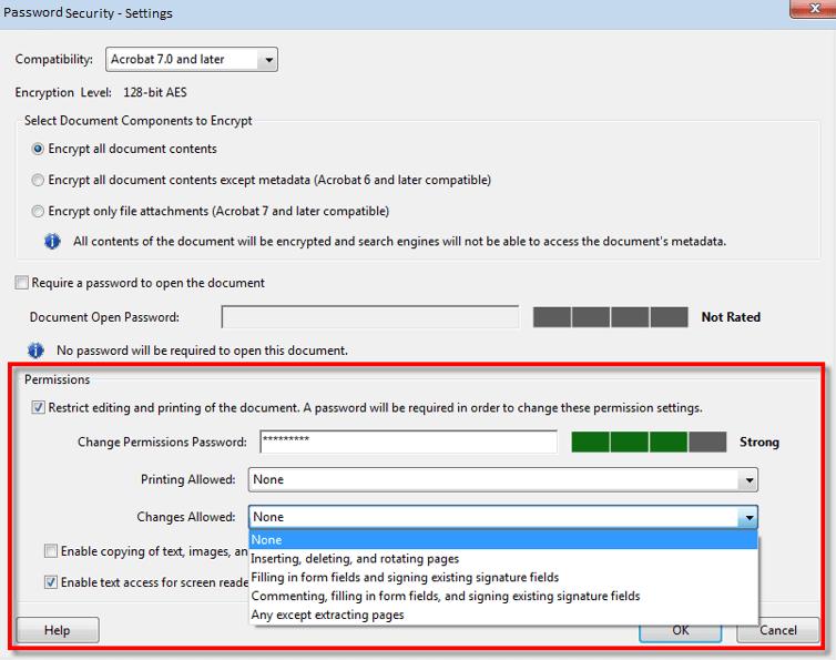 Password Security Settings - PDF File