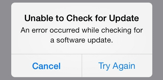 Unable to Check for Update
