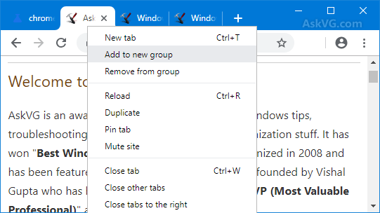 Chrome Tab Groups Feature