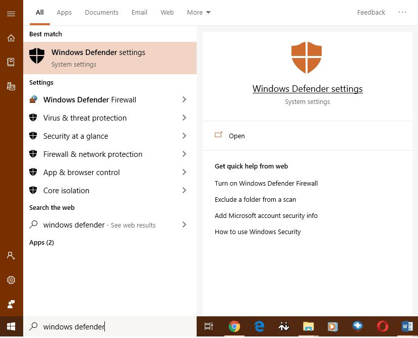 Windows Defender Settings