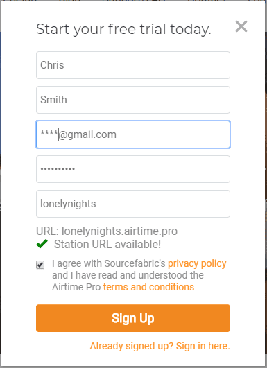 airtime pro signup form