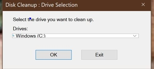 Disk cleanup - drive selection