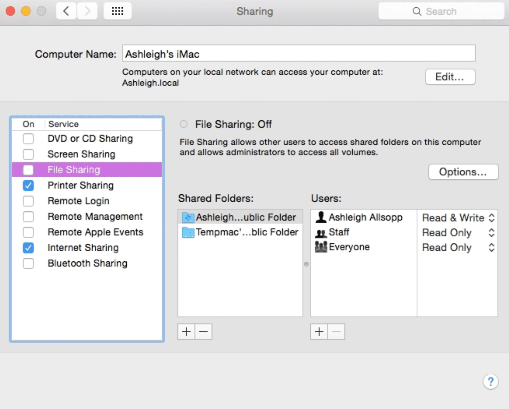 manage sharing mac