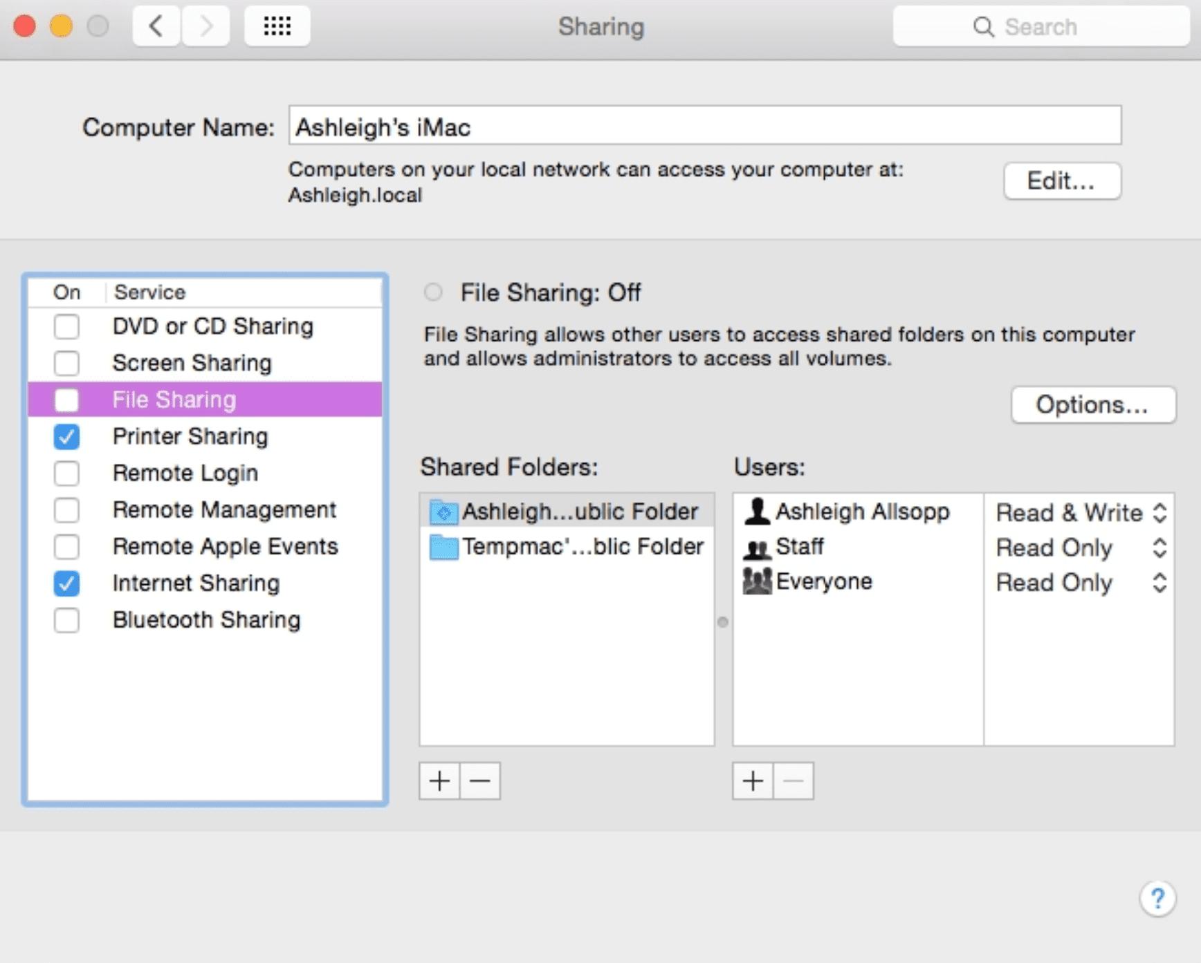 manage sharing mac