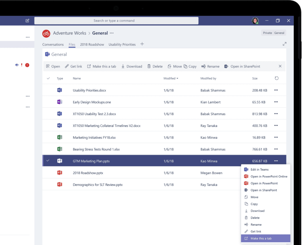 Device screen showing a list of files in Microsoft Teams. One file is selected and the expanded menu for that file is visible.