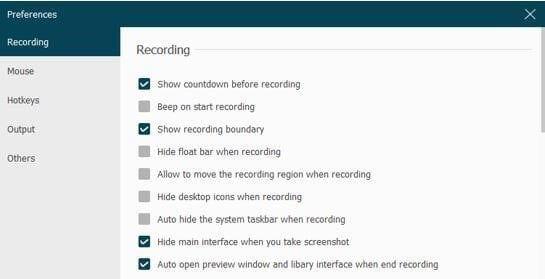 Change Recording Settings