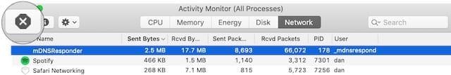 Activity Monitor stop button mDNSResponder