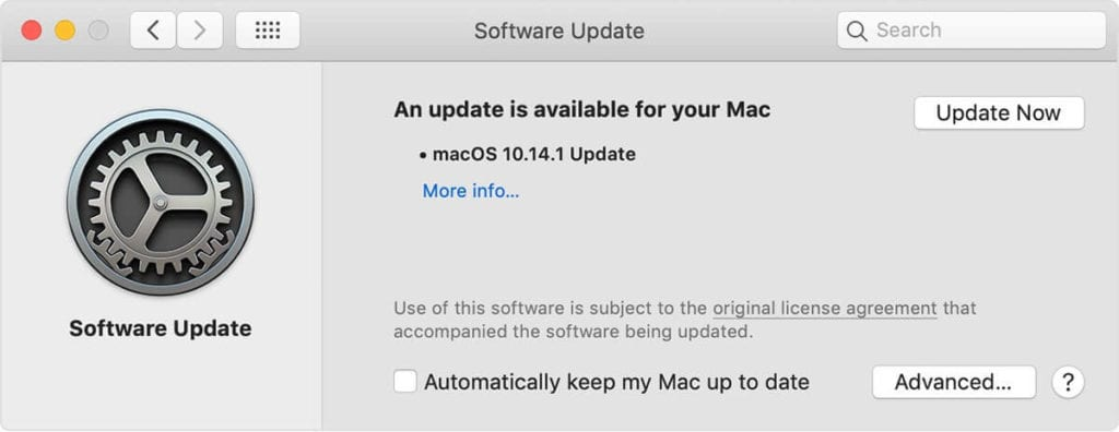 mac Software Update preferences