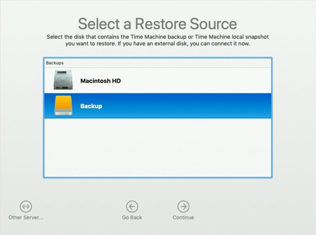 Select a restore source