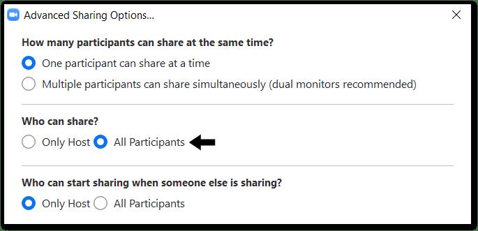 advanced sharing option