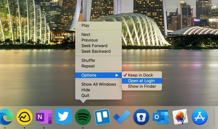 Disabling Open at Login from the Dock