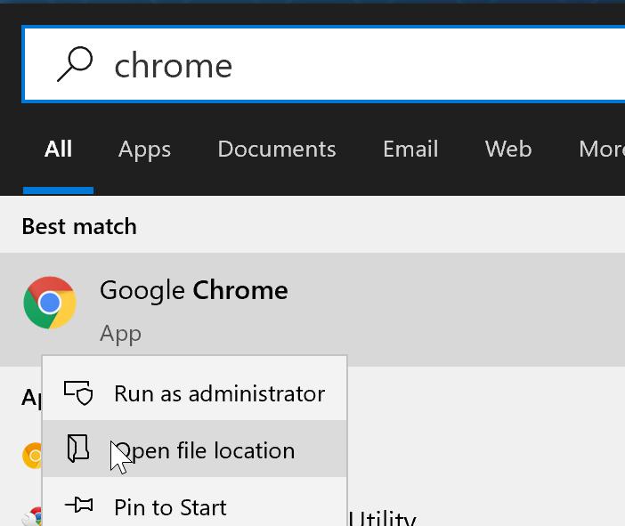 Chrome browser shortcut