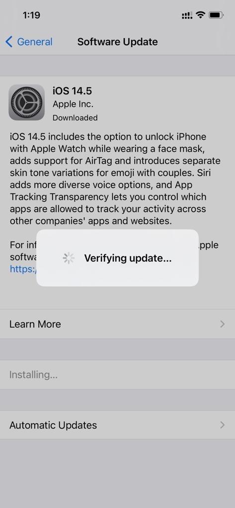 verify update