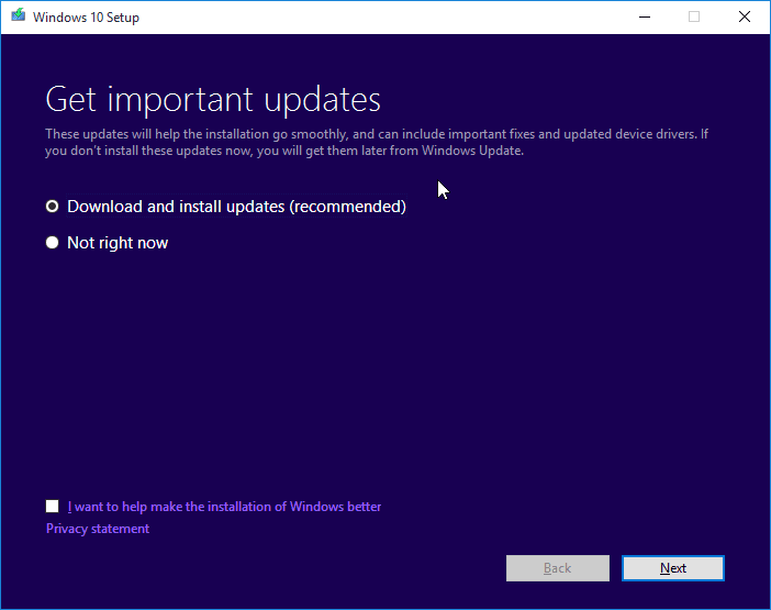download and install updates