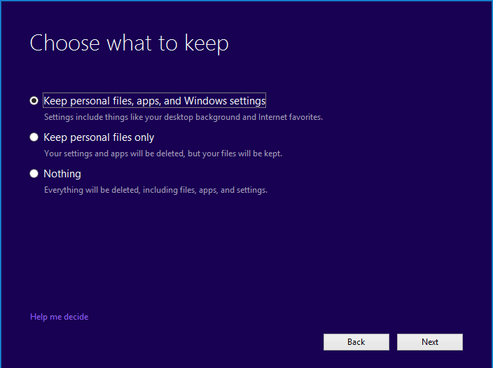 personal files, apps, and Windows settings