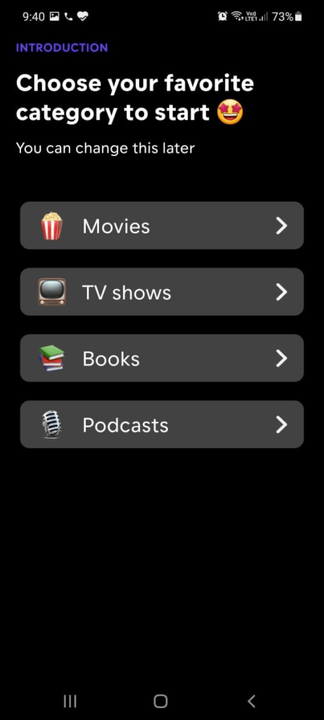 select favorite category
