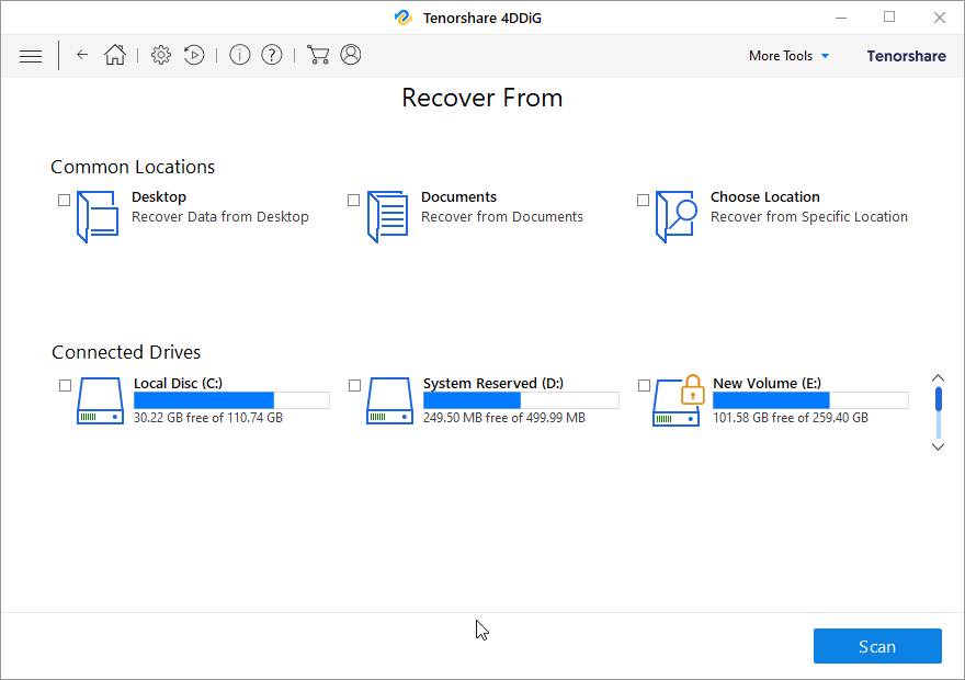 Select Specific Location or Connected Drive
