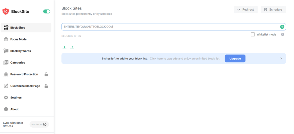 block site tab